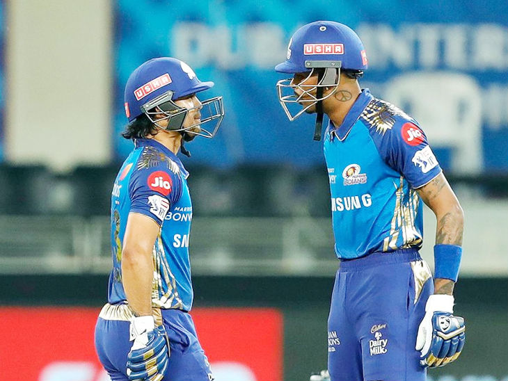 Ishaan Kishan of Mumbai and Hardik Pandya took the fifth wicket with an unbeaten partnership of 60 runs off 23 balls to take the team score to 200.  Ishaan scored 55 and Hardik scored 37 runs.