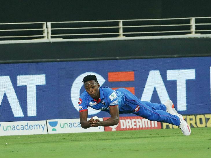 Kagiso Rabada of Delhi dived and caught a superb catch by Kieron Pollard of Mumbai.