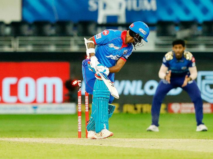Shikhar Dhawan was bowled clean by Jaspreet Bumrah.