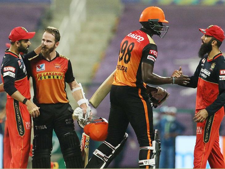 सनराइजर्स हैदराबाद के केन विलियम्सन और जेसन होल्डर ने 5वें विकेट के लिए 65 रन की नाबाद पार्टनरशिप कर अपनी टीम को जीत दिलाई। - Dainik Bhaskar