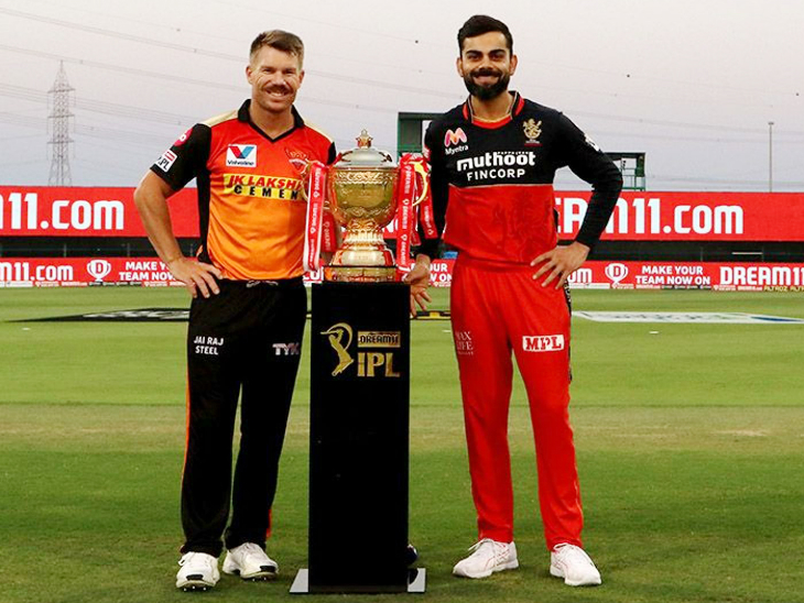 IPL Trophy during the toss with Sunrisers Hyderabad captain David Warner and Royal Challengers Bangalore captain Virat Kohli.