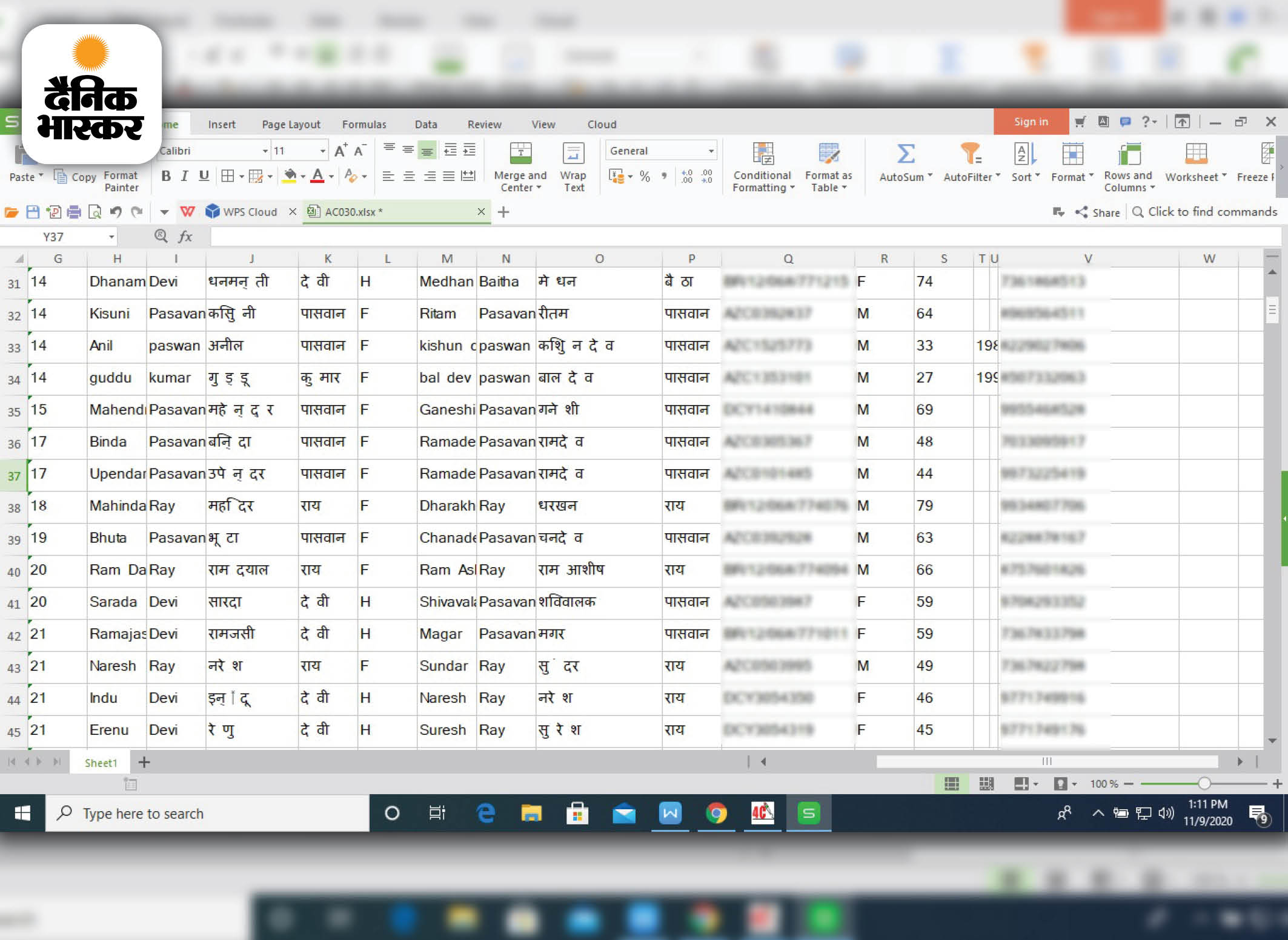 भास्कर ने संबंधित एजेंसी से यह सैम्पल डेटा हासिल किया।