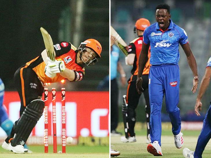दिल्ली के तेज गेंदबाज कगिसो रबाडा ने 4 ओवर में 29 रन देकर 4 विकेट लिए। उन्होंने पारी के दूसरे ही ओवर में हैदराबाद के कप्तान डेविड वॉर्नर को बोल्ड किया। - Dainik Bhaskar