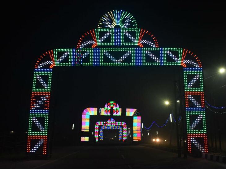 अयोध्या में बने स्वागत द्वार।