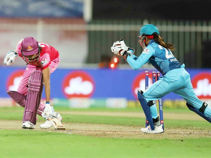 Jhulan Goswami was also stumped by Radia Yadav by Tania Bhatia. Jhulan was out by scoring 1 run.