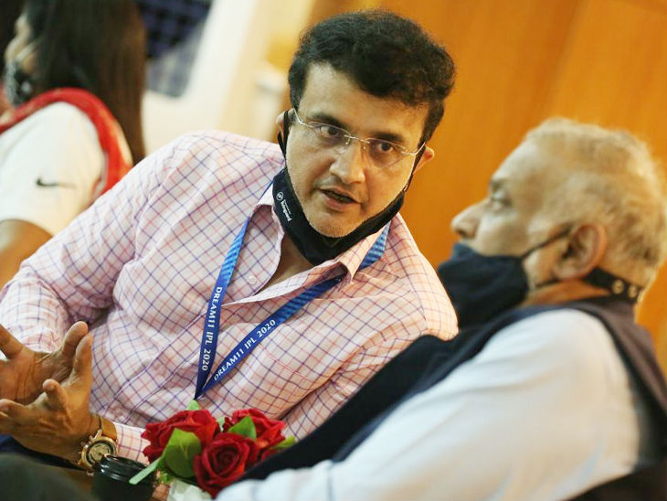 Sourav Ganguly and IPL Governing Council Chairman Brijesh Patel during the match.