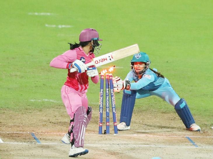 Mandhana was stumped by Supernovas wicketkeeper Tania Bhatia at Sriwardene's ball. He scored 68 off 49 balls.