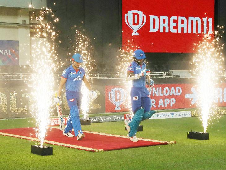 Delhi batsmen landed on the ground amid fireworks.
