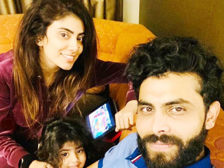 All-rounder Ravindra Jadeja arrived in Australia with wife Rewa Solanki and daughter Nidhyana.