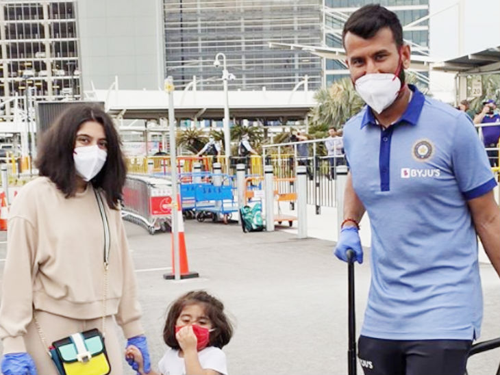 Team India's middle order batsman Cheteshwar Pujara arrived in Sydney with wife Pooja Pabri and daughter Aditi Pujara.