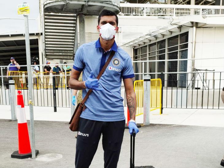 भारत के तेज गेंदबाज नवदीप सैनी।