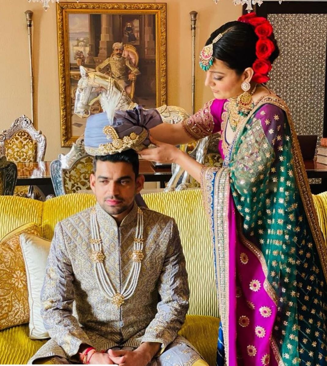 Kangana wearing a turban to brother Akshat.