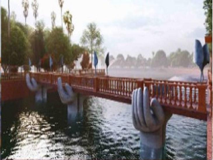 मंदिर तक ले जाने वाले पुल को पौराणिक कथाओं के आधार पर डिजाइन किया जा रहा है।
