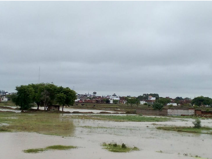 लखनऊ के ग्रामीण इलाकों में खेतों में भरा पानी।