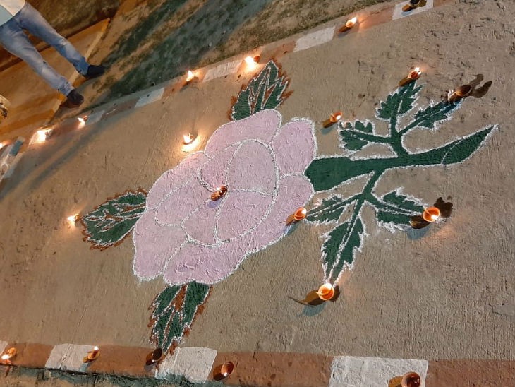 Rangoli celebrated by detainees.