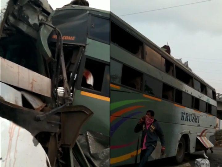 रेलवे फाटक पर खड़ी बस के पीछे जा घुसी यात्रियों से भरी दूसरी बस, दोनों में सवार 20 से ज्यादा यात्री घायल|गुजरात,Gujarat - Dainik Bhaskar