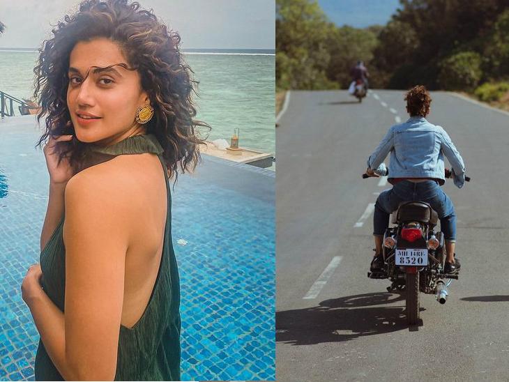 रश्मि रॉकेट की शूटिंग के दौरान बिना हेलमेट पहने बाइक चला रहीं थी तापसी, शूट से पहले कट गया चालान बॉलीवुड,Bollywood - Dainik Bhaskar