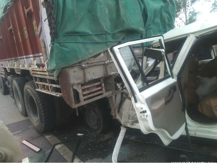 The Bolero jeep hit the rear of the truck.