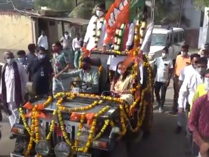 सत्कार समारोह के बाद दोनों नेता खुली जीप में रैली निकाली।
