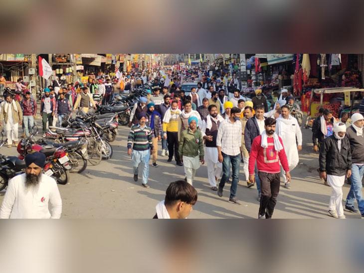रैली से पहले और बाद में शहर की सड़कों पर ऐसे नजर आई किसानों की भीड़।