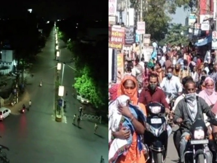 The Gondwali market in Rajkot is crowded during the day after the night curfew.