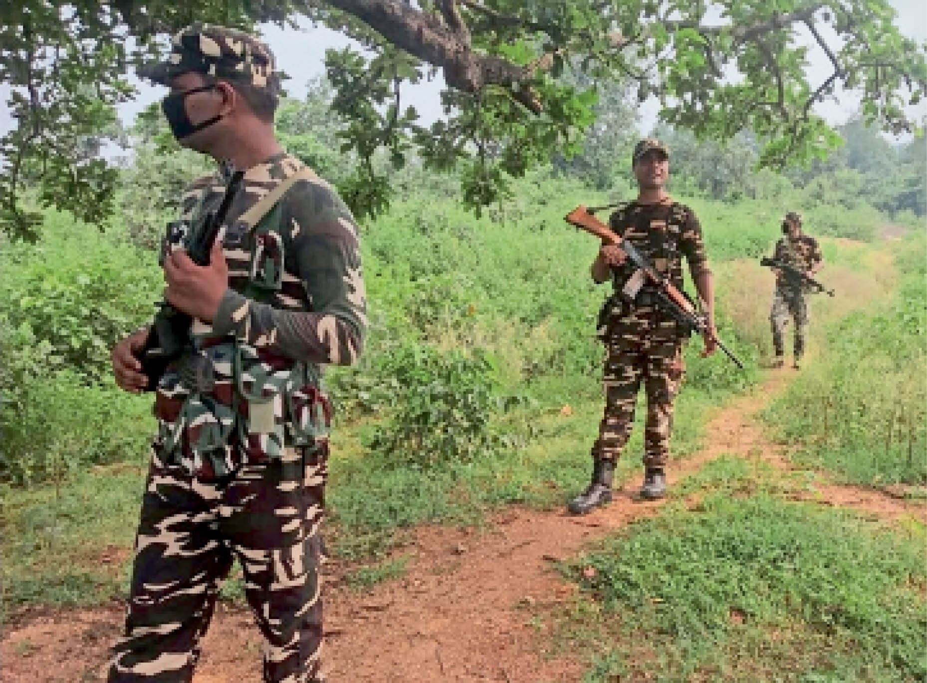 गुरपा के जंगली इलाकाें में सर्च अभियान में शामिल सुरक्षा बल ।