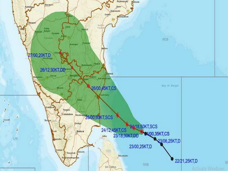 मौसम विभाग ने मंगलवार को साइक्लोनिक तूफान निवार की ताजा स्थिति दिखाने वाला मैप जारी किया। इसके मद्देनजर तमिलनाडु और पुडुचेरी में अलर्ट जारी किया गया है।