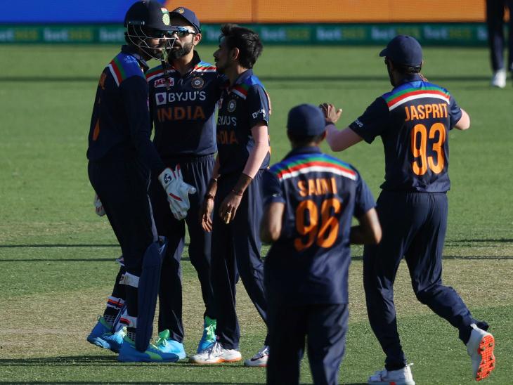 जसप्रीत बुमराह, नवदीप सैनी और युजवेंद्र चहल को 1-1 विकेट मिला। चहल ने 10 ओवर में रिकॉर्ड 89 रन लुटाए।