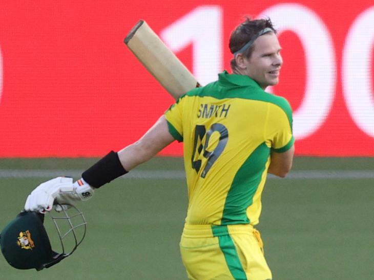 स्टीव स्मिथ ने 62 बॉल पर वनडे का अपना 10वां शतक जड़ा। उन्होंने 65 बॉल पर 105 रन की पारी खेली।