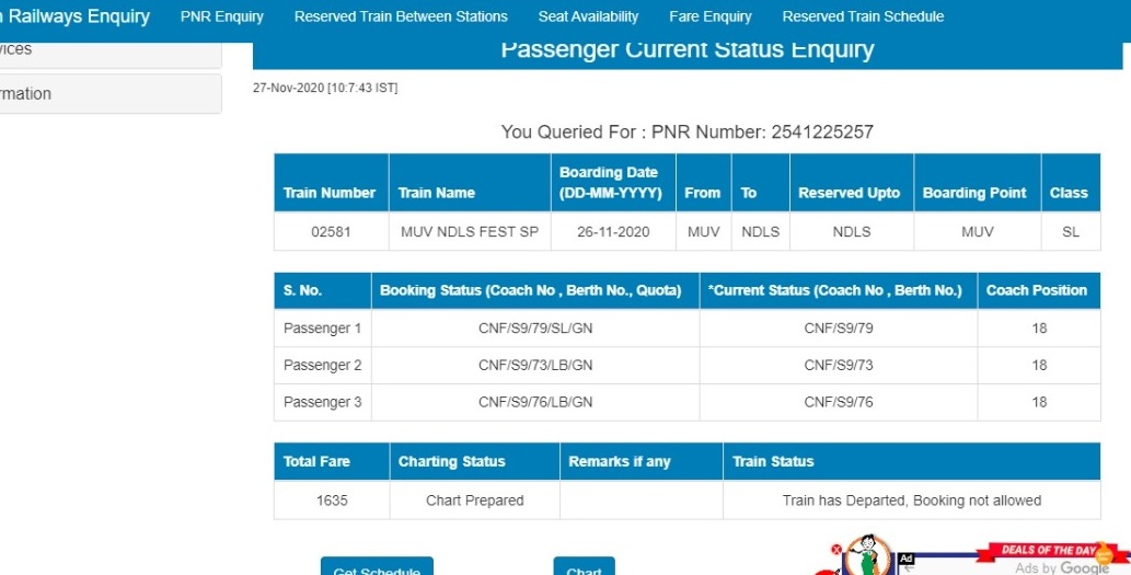 PNR नंबर - 2541225257 का टिकट।