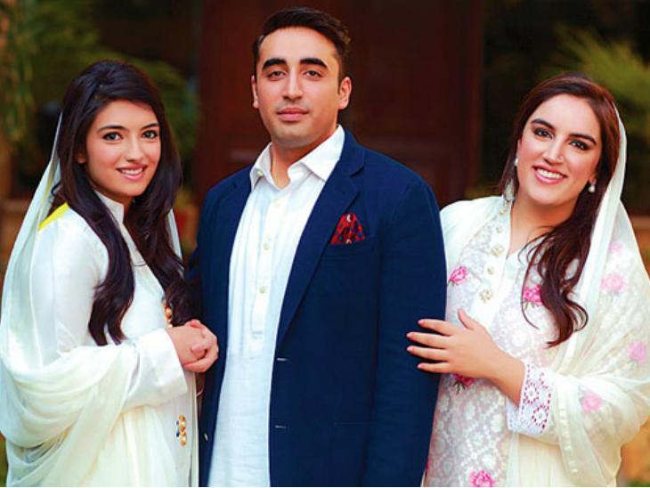 भाई बिलावल भुट्टो जरदारी के साथ आसिफा (बाएं) और बख्तावर भुट्टो। बख्तावर ने पिछले हफ्ते लंदन के एक बिजनेसमैन से शादी की है। (फाइल)
