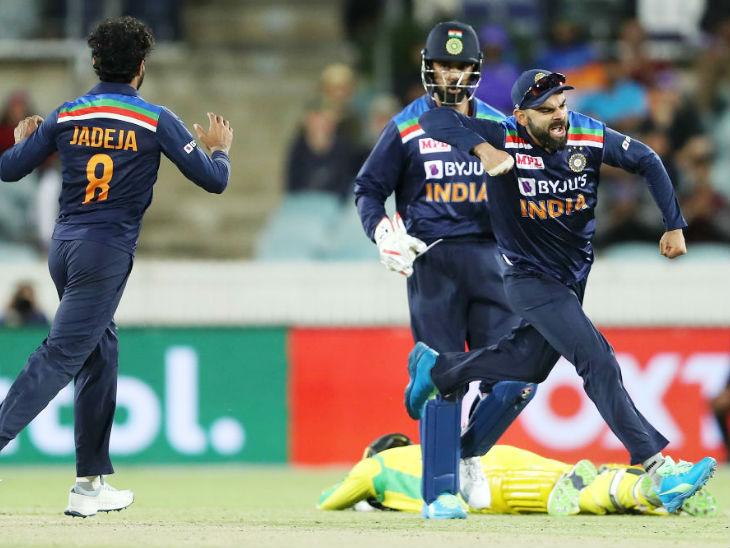 मैच के बाद विराट कोहली ने कहा कि यह संतोषजनक बात है कि हमारी पारी के पहले हाफ में और आस्ट्रेलियाई पारी के दूसरे हाफ में हम दबाव में थे, लेकिन हमने दोनों बार वापसी की। - Dainik Bhaskar