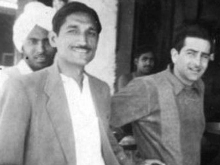 1950 के दशक में धर्मपाल गुलाटी एक्टर राजकपूर के साथ।