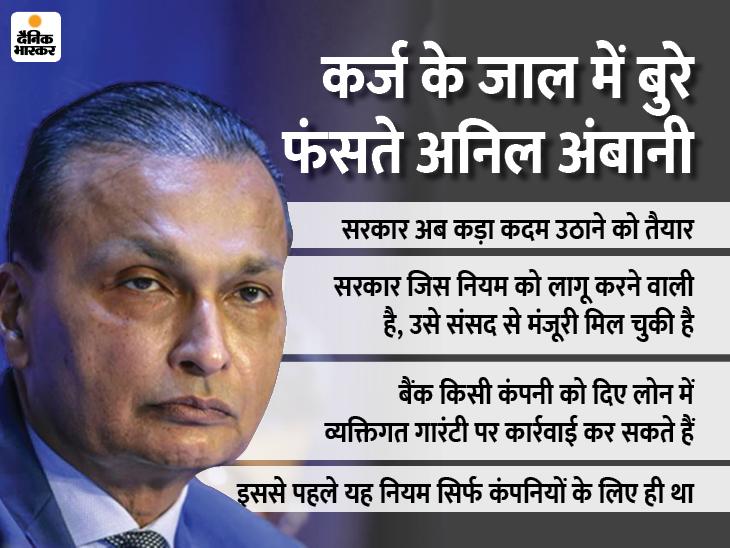 अनिल अंबानी के लिए मुश्किल की घड़ी करीब, निजी गारंटी पर रियायत के मूड में नहीं है सरकार बिजनेस,Business - Dainik Bhaskar