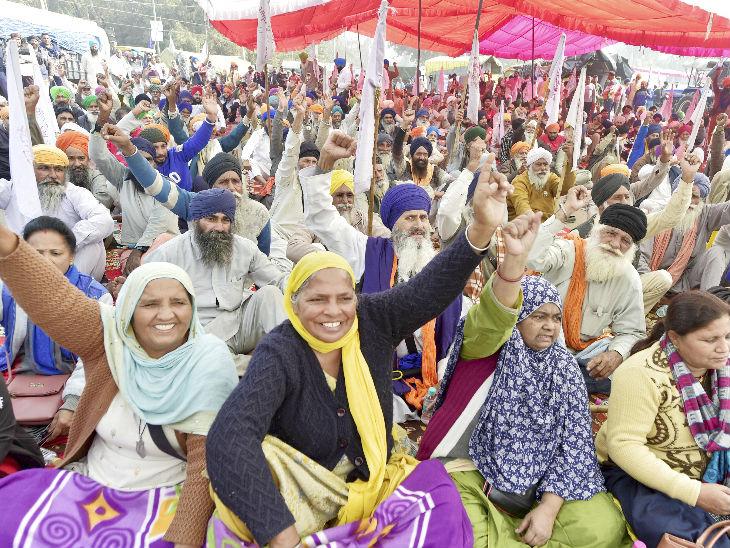 सिंघू बॉर्डर पर नए किसान कानून का विरोध के दौरान महिलाओं ने भी हिस्सा लिया।