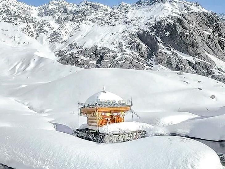 बर्फ के कारण पूरी तरह जम चुकी है युला कुंडा झील, तापमान -14 डिग्री|हिमाचल,Himachal - Dainik Bhaskar