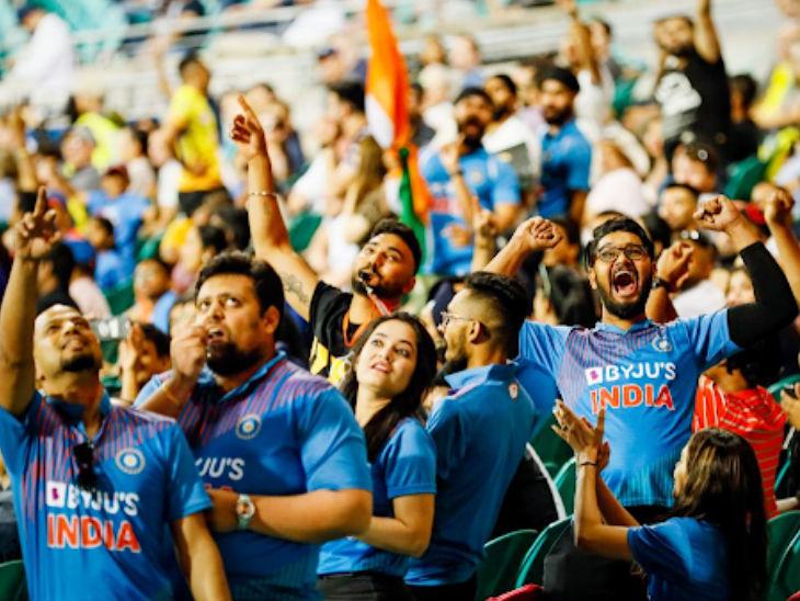 मैच जीतने के बाद भारतीय फैंस इस तरह खुश नजर आए।