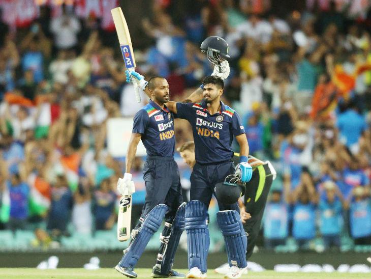 पंड्या के साथ श्रेयस अय्यर भी 5 बॉल पर 12 रन बनाकर नाबाद रहे और मैच जिताया। दोनों के बीच 5वें विकेट के लिए नाबाद 46 रन की पार्टनरशिप हुई।