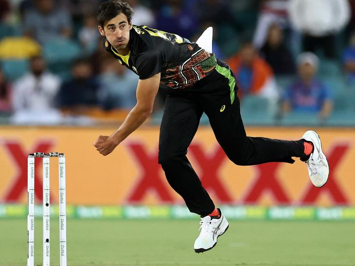 ऑस्ट्रेलिया के तेज गेंदबाज मिशेल स्टार्क भारत के खिलाफ अगले दो टी-20 नहीं खेलेंगे। स्टार्क ने पहले मैच में 2 विकेट लिए थे। - Dainik Bhaskar