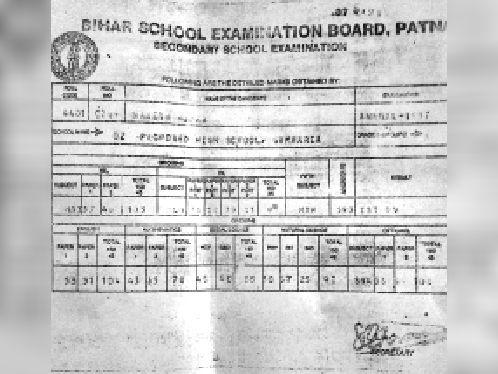 1987 में गम्हरिया हाईस्कूल से उत्तीर्ण नरेश के नाम से जारी अंक पत्र।