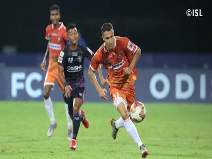 इंडियन सुपर लीग(ISL)में शनिवार को सातवें सीजन के खले में एफसी गोवा के इगोर एंगुलो ने 45 वें मिनट में गोलकर उड़ीसा एफसी को 1-0 से हराया। - Dainik Bhaskar