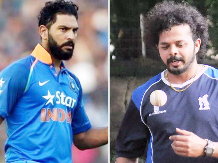 युवराज ने पिछले साल क्रिकेट से संन्यास लिया था। वहीं, श्रीसंत 7 साल बाद किसी टीम में आधिकारिक तौर पर चुने गए। - Dainik Bhaskar