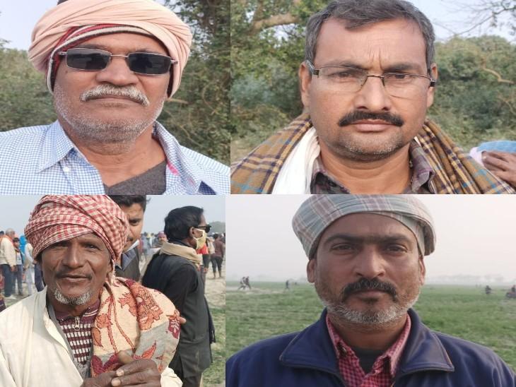 बिहपुर के किसान, जिनकी फसल मुख्यमंत्री के आगमन पर बर्बाद हुई ( नवीन चौधरी, मनोज कुमार, बशीर और राजेश। )