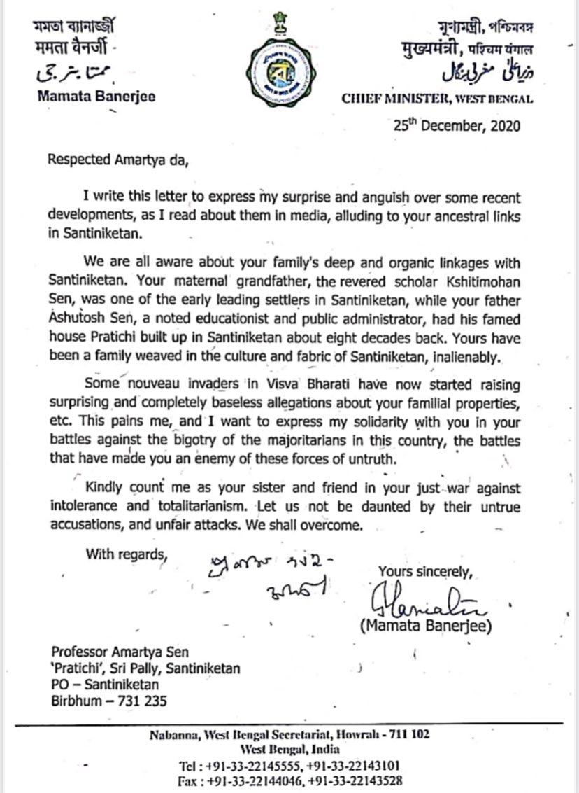 ममता बनर्जी ने लेटर में सेन के लिए लिखा है कि ये लड़ाई आपको इन झूठी ताकतों का दुश्मन बना देगी।