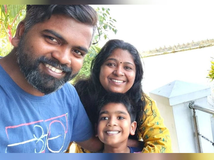 Asha Bineesh with her husband and child.  Three years ago, Asha's husband also quit his job and started helping him.