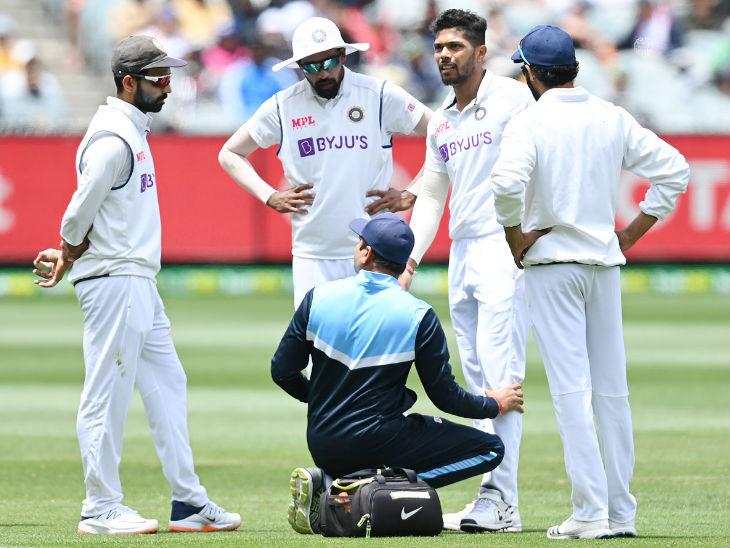 तेज गेंदबाज उमेश यादव ऑस्ट्रेलिया की दूसरी पारी में चोटिल होकर मैदान से बाहर चले गए।