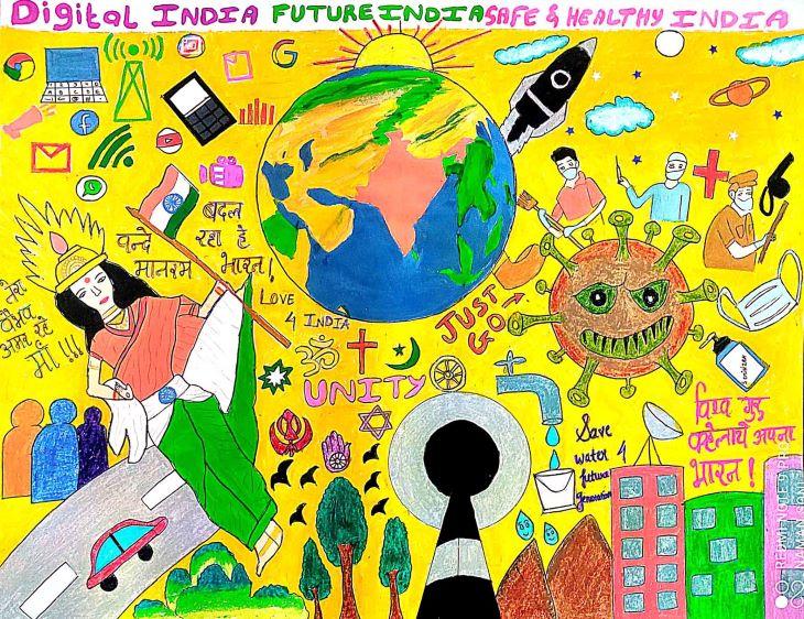 सांत्वना पुरस्कार विजेता - श्रुति पियुशभाई भदियाद्र की पेंटिंग