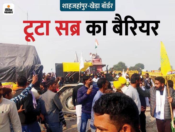 किसानों का दिल्ली कूच: शाहजहाँपुर बॉर्डर पर ट्रैक्टर से बैरियर तोड़कर हरियाणा में घुसे किसान;  पुलिस ने लाठीचार्ज किया, कई घायल हुए