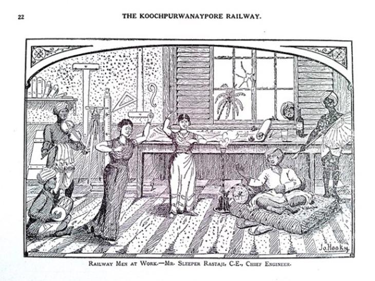 1910 में नए तरीके से प्रकाशित स्केच बुक का 22 वां पन्ना- रेलवे कर्मी काम पर हैं।
