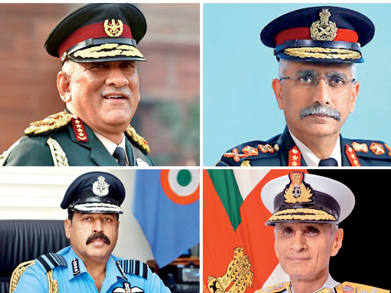 चार यौद्धाओं (सीडीएस और सभी सेना प्रमुख) का फोटो, जिनके कंधे पर देश की सुरक्षा का भार है। - Dainik Bhaskar